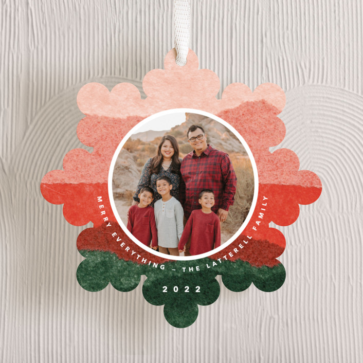 """jolly snowflake"" - Modern Holiday Ornament Cards in Candy Apple by Carrie Moradi."