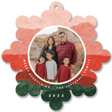 This is a red holiday card ornament by Carrie Moradi called jolly snowflake with standard printing on smooth signature in ornament.