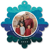 This is a blue holiday card ornament by Carrie Moradi called jolly snowflake with standard printing on smooth signature in ornament.