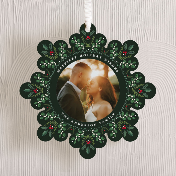 """Holiday Snowflake"" - Vintage Holiday Ornament Cards in Pomegranate by Susan Moyal."
