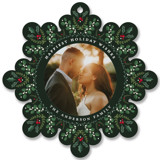 This is a green holiday card ornament by Susan Moyal called Holiday Snowflake with standard printing on smooth signature in ornament.