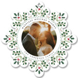 This is a red holiday card ornament by Susan Moyal called Holiday Snowflake with standard printing on smooth signature in ornament.
