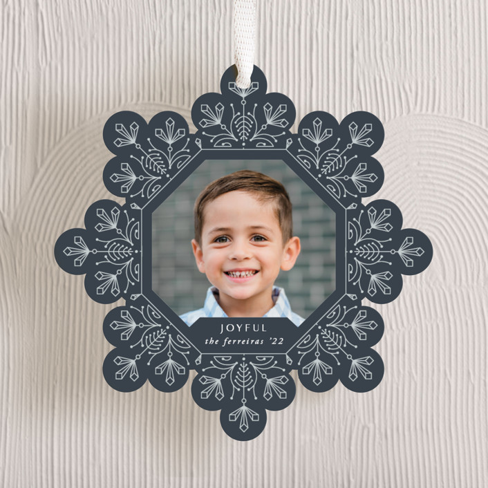 """""""Christmas snowflake"""" - Bohemian Holiday Ornament Cards in Midnight by Ana de Sousa."""