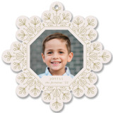 This is a beige holiday card ornament by Ana de Sousa called Christmas snowflake with standard printing on smooth signature in ornament.