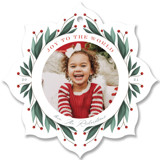 This is a green holiday card ornament by Cindy Reynolds called Holly Ornament with standard printing on smooth signature in ornament.