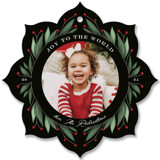 This is a black holiday card ornament by Cindy Reynolds called Holly Ornament with standard printing on smooth signature in ornament.