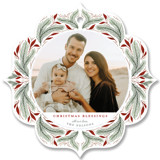 This is a red holiday card ornament by Cindy Reynolds called Pine Ornament with standard printing on smooth signature in ornament.