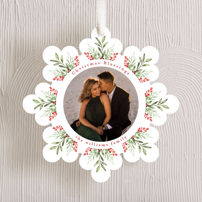"""""""Floral Ornament"""" - Holiday Ornament Cards in Rudolph Nose by Mansi Verma."""