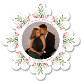 This is a red holiday card ornament by Mansi Verma called Floral Ornament with standard printing on smooth signature in ornament.