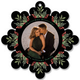 This is a black holiday card ornament by Mansi Verma called Floral Ornament with standard printing on smooth signature in ornament.
