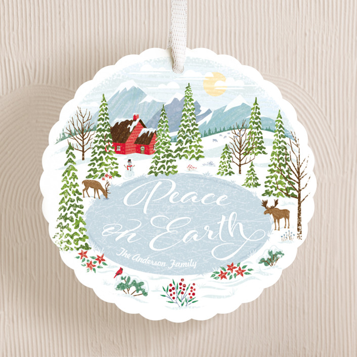 """Peace in the Valley"" - Vintage Holiday Ornament Cards in Ice by Paper Sun Studio."