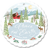This is a white holiday card ornament by Paper Sun Studio called Peace in the Valley with standard printing on signature in ornament.