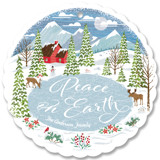 This is a blue holiday card ornament by Paper Sun Studio called Peace in the Valley with standard printing on signature in ornament.