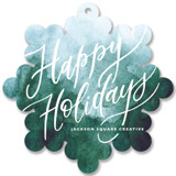 This is a green holiday card ornament by Yuliya Evseeva called Winter letter with standard printing on signature in ornament.