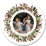 This is a red holiday card ornament by Brooke Chandler called Merry Wreath with standard printing on smooth signature in ornament.
