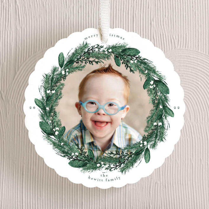 """""""Pine Wreath"""" - Holiday Ornament Cards in Pine by Gwen Bedat."""