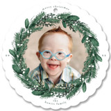 This is a green holiday card ornament by Gwen Bedat called Pine Wreath with standard printing on smooth signature in ornament.