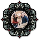 This is a red holiday card ornament by Susan Moyal called Botanical Ornament with standard printing on smooth signature in ornament.