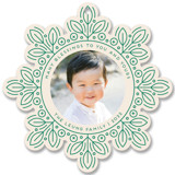 This is a green holiday card ornament by Genna Blackburn called Leafy Snowflake with standard printing on smooth signature in ornament.