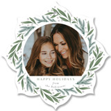 This is a green holiday card ornament by Cindy Reynolds called Evergreen Berries with standard printing on smooth signature in ornament.