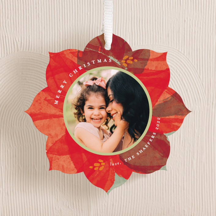 """""""layered poinsettia"""" - Holiday Ornament Cards in Poinsettia by Robin Ott."""