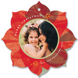 This is a red holiday card ornament by Robin Ott called layered poinsettia with standard printing on smooth signature in ornament.