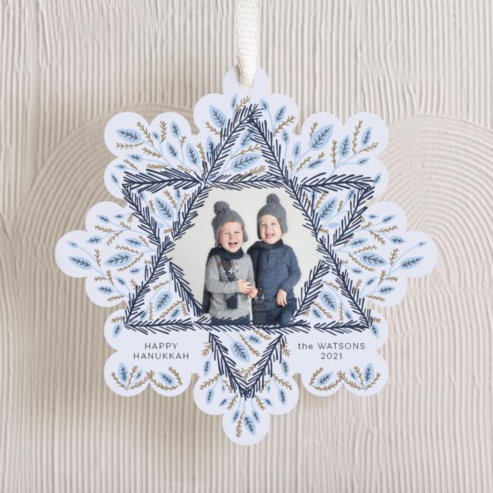 """Hanukkah Wreath"" - Holiday Ornament Cards in Winter Sky by Carolyn Kach."