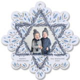 This is a blue holiday card ornament by Carolyn Kach called Hanukkah Wreath with standard printing on smooth signature in ornament.