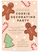 This is a orange holiday party invitation by Jennifer Lew called Gingerbread printing on signature.