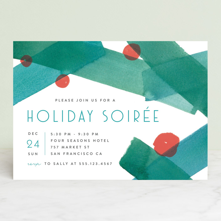 """Festive Abstract"" - Holiday Party Invitations in Teal by Four Wet Feet Studio."