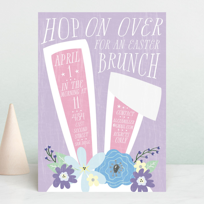 """Easter Bunny Ears"" - Holiday Party Invitations in Lilac by Ally Madison."