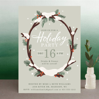 Snowy Wreath Holiday Party Invitations