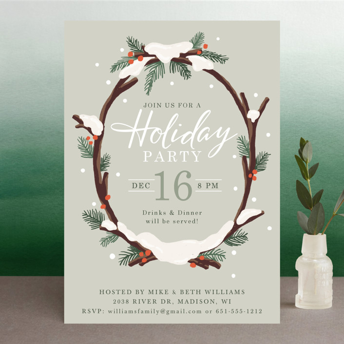 """""""Snowy Wreath"""" - Holiday Party Invitations in Sage by Jamie Schultz Designs."""