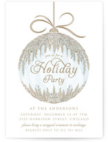This is a blue holiday party invitation by Paper Sun Studio called Cascade Ornament printing on signature.
