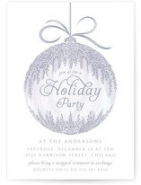 This is a purple holiday party invitation by Paper Sun Studio called Cascade Ornament printing on signature.