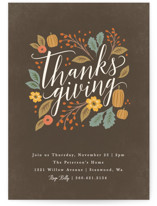 This is a brown holiday party invitation by Karidy Walker called Grateful Autumn printing on signature.