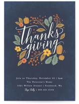 This is a blue holiday party invitation by Karidy Walker called Grateful Autumn printing on signature.