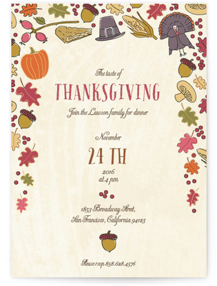 Taste of Thanksgiving Holiday Party Invitations