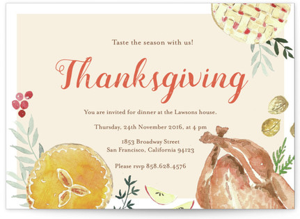 Thanksgiving table Holiday Party Invitations