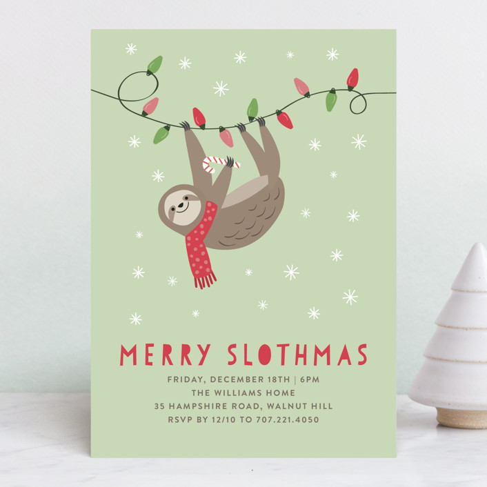"""""""Merry Slothmas"""" - Holiday Party Invitations in Sage by Chelsey Scott."""