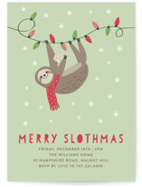 This is a green holiday party invitation by Chelsey Scott called Merry Slothmas printing on signature.