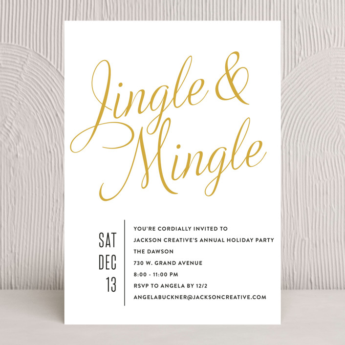"""Jingle Mingle"" - Bold typographic, Minimalist Holiday Party Invitations in Snowfall by Olivia Raufman."