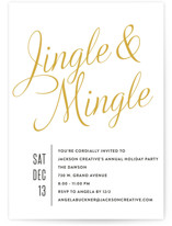 This is a gold holiday party invitation by Olivia Raufman called Jingle Mingle printing on signature.