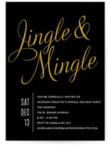 This is a black holiday party invitation by Olivia Raufman called Jingle Mingle printing on signature.