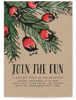 Pine and Berries Holiday Party Invitations