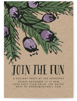 This is a purple holiday party invitation by Chris Griffith called Pine and Berries printing on signature.