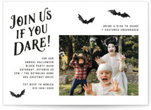 This is a black holiday party invitation by Hooray Creative called Trick-or-Treat with standard printing on signature in standard.
