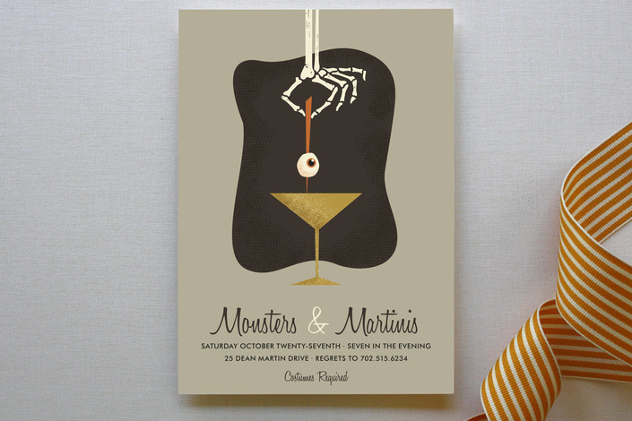 """""""Swanky Shaken and Stirred"""" - Funny, Modern Holiday Party Invitations in Taupe by Three Kisses Studio."""