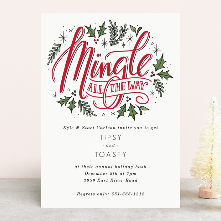 """Merry Mingle"" - Holiday Party Invitations in Cherry by Jamie Schultz Designs."