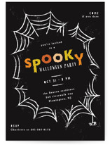 This is a black holiday party invitation by Creo Study called Spooky Frame printing on signature.